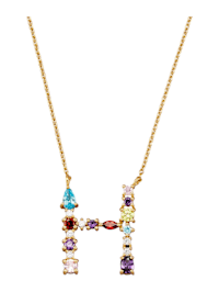 Collier Letter H met multicolor synth. zirkonia's