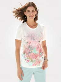 Shirt mit mehrfarbigen Dekosteinen