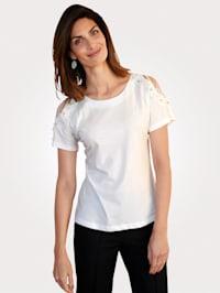T-shirt avec découpes et perles fantaisie
