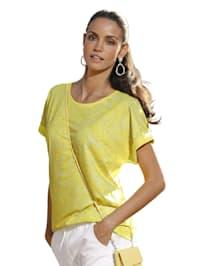 Shirt mit bedrucktem Vorderteil und unifarbenem Rückteil