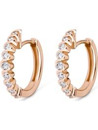 CHRIST Damen-Creolen 585er Roségold 18 Diamant