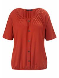 Shirt Rundhalsshirt Zierknöpfe