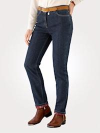 Thermo-Jeans mit Karo-Aufschlag