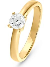 CHRIST Damen-Damenring 585er Gelbgold 1 Diamant