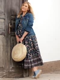 Web-Kleid mit floralem Dessin