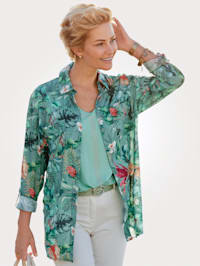 Blouse with a bold botanical print