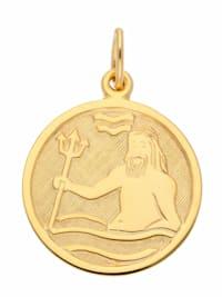 Damen & Herren Goldschmuck 333 Gold Sternzeichen Anhänger Wassermann Ø 16 mm