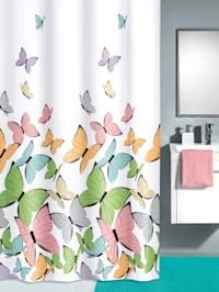 Dusjforheng med sommerfuglmotiv
