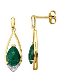 Örhängen med smaragd
