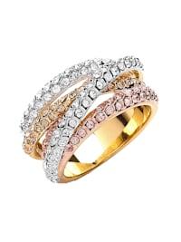Ring 3-fbg. vergoldet mit Kristallen Messing Kristall weiß Glänzend Messing