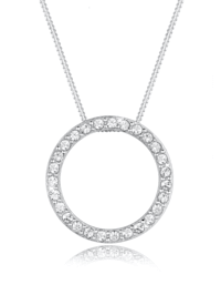 Halskette Kreis Geo Kristalle 925 Sterling Silber
