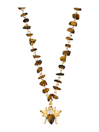 Collier œils-de-tigre avec pendentif Abeille