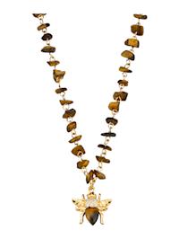 Halsband med tigeröga och bi-hänge