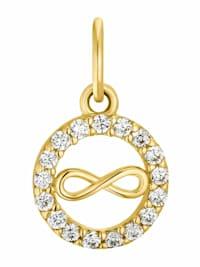 Motivanhänger für Damen, 375 Gold Zirkonia   Infinity