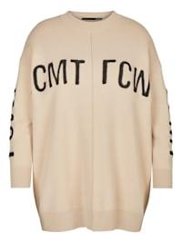 Pullover mit Marken-Lettering und Rippbündchen