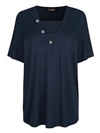Shirt mit dekorativen Knöpfen am Ausschnitt