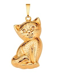 Katzen-Anhänger mit Diamant
