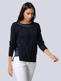 Pullover mit edlem Seideneinsatz