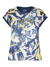 Shirt mit geblümtem Muster und Strass-Steinen