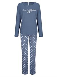 Pyjama avec détails romantiques en dentelle à la taille du pantalon