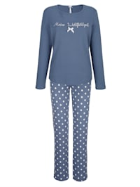 Pyžama s romantickou čipkou na pásovke