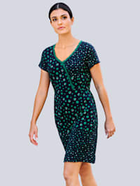 Klänning i jersey med prickigt mönster