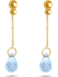 CHRIST Damen-Ohrhänger 375er Gelbgold Aquamarin
