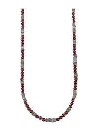 Halskette mit Granat-Steinen und Labradorit
