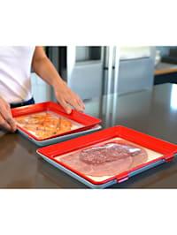 Jeu de 2 Systèmes de stockage pour aliments frais 'Clever Tray' Genius Ideas, rectangulaires 30,5 x 23 x 2,5 cm