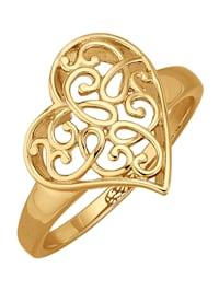 Herz-Ring in Silber 925, vergoldet