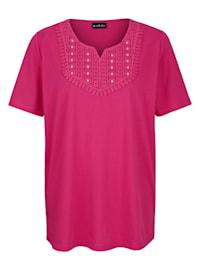 Shirt mit Spitze und Steinchendeko