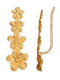 Blüten-Ohrklemmen in Gelbgold 375