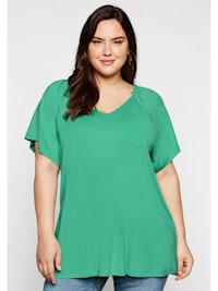 Sheego Shirt mit Raglanärmeln und gerafftem Ausschnitt