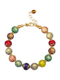 Bracelet en verre de Murano en argent 925, doré