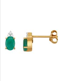 Oorstekers met smaragden en diamanten