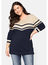 Pullover mit Streifen, in Feinstrickqualität