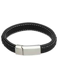 Armband schwarzes Leder, Edelstahl