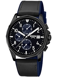 Chronograph Herrenuhr Titan Schwarz/Blau