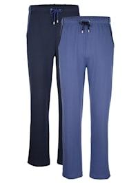 Športové nohavice, 2 kusy s kontrastným lemovaním