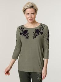 Shirt met ton-sur-ton flockprint