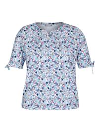 Shirt mit grafischem Allover-Muster und Bindebändern
