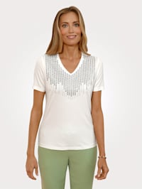 Shirt mit dekorativer Plättchenzier