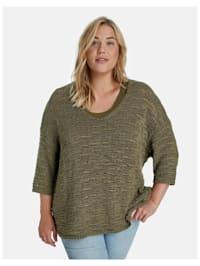 3/4 Arm Pullover aus transparentem Strick