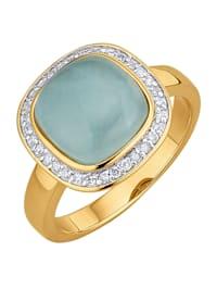 Bague avec aigue-marine et diamants