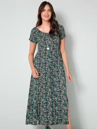 Jersey-Kleid mit gesmoktem, elastischem Oberteil