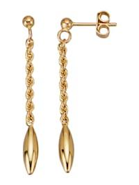 Boucles d'oreilles maille cordon en or jaune 585
