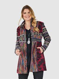 Robe manteau van een materialenmix