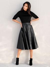 Kleid mit Rockteil aus Lederimitat