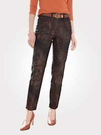 Trousers with an abstract animal print