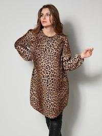 Lång tunika med leopardmönster